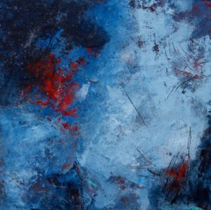 "Blue and red - 1, oil and cold wax on wood panel, 10""X10"""