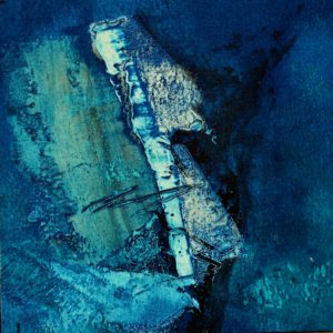 "Cold water blue - 3 , oil and cold wax on paper on wood panel, 5""X5"" NFS"